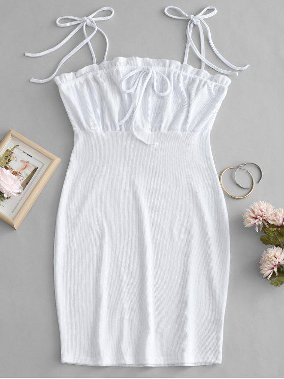chic Tie Shoulder Ruffle Mini Dress - WHITE S