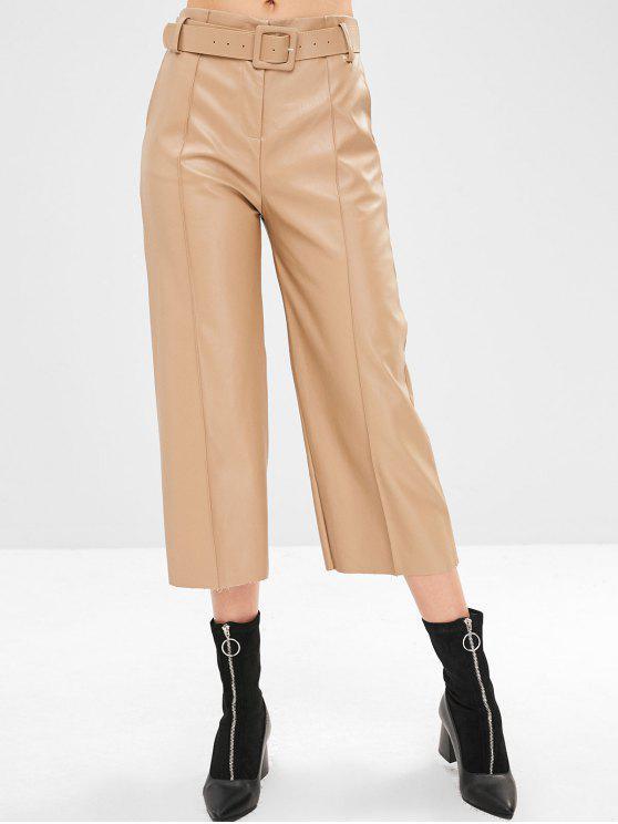 Pantaloni Larghi In Ecopelle - Marrone Cammello L