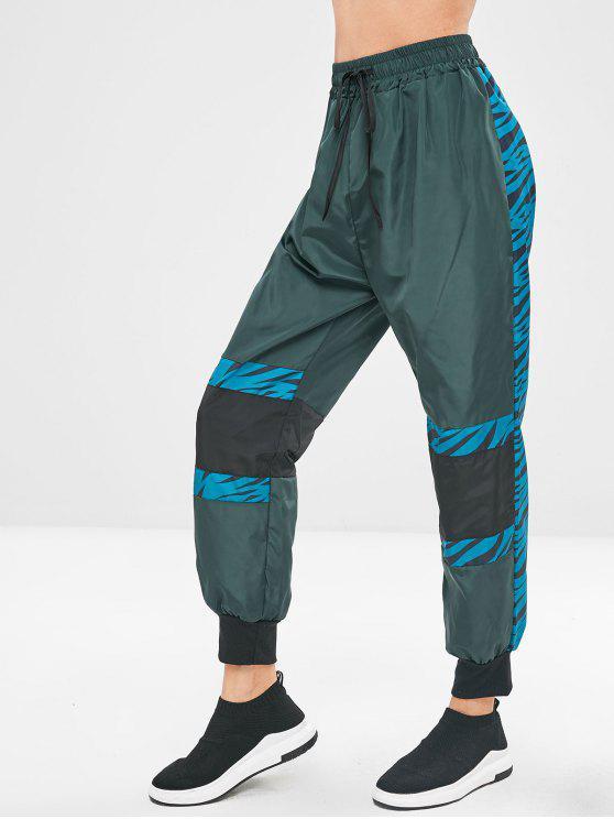 Pantaloni Da Jogging A Contrasto Con Coulisse - Scuro Verde S