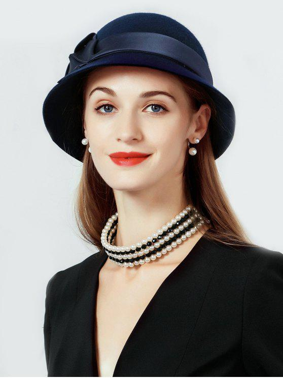 best Solid Color Wool Cloche Hat - DEEP BLUE