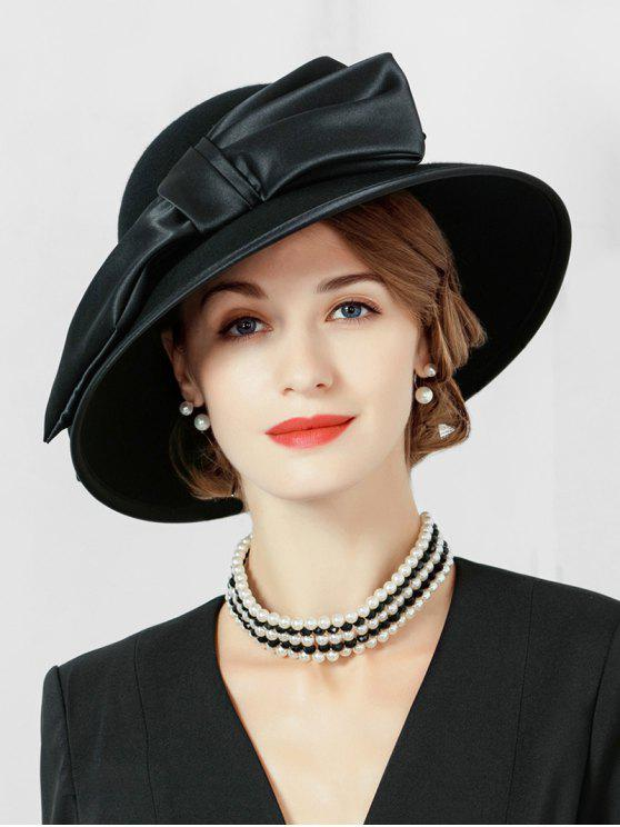 latest Vintage Large Bowknot Church Hat - BLACK