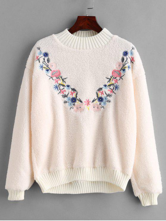 womens Floral Embroidered Fluffy Teddy Sweatshirt - WARM WHITE ONE SIZE