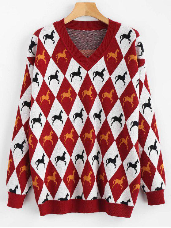 Maglione Stampato Cavallo Con Scollo A V - Rosso M