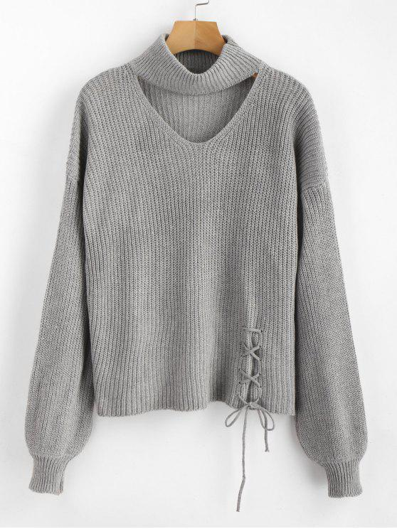 outfit ZAFUL Lace Up Plain Keyhole Sweater - GRAY ONE SIZE