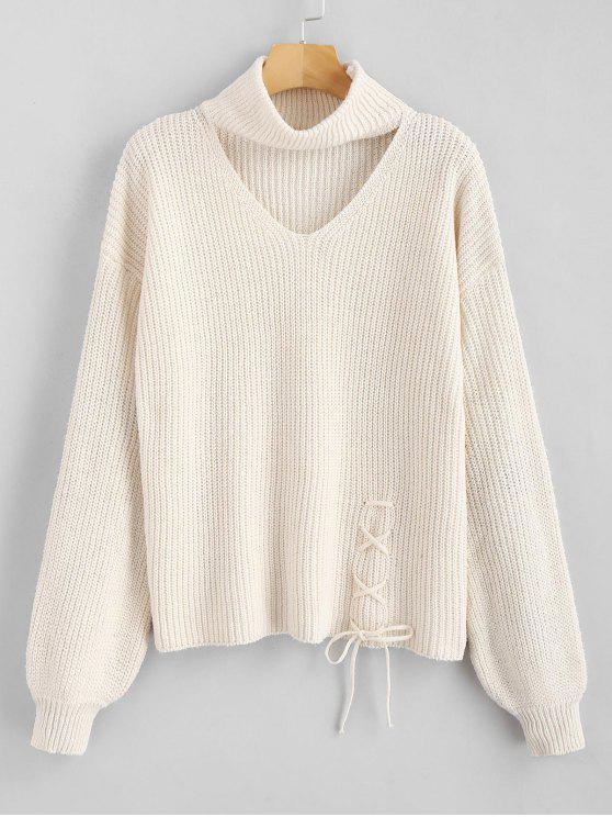 buy ZAFUL Lace Up Plain Keyhole Sweater - WARM WHITE ONE SIZE