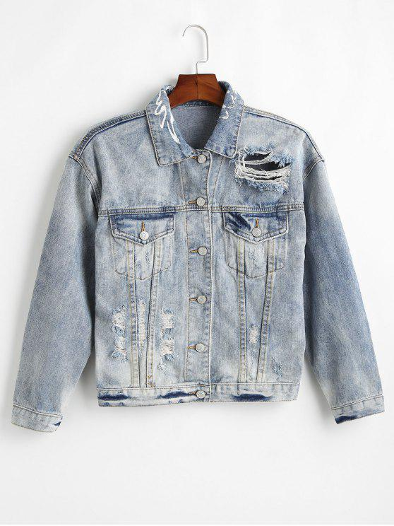 women Ripped Denim Jacket with Pocket - DENIM BLUE S