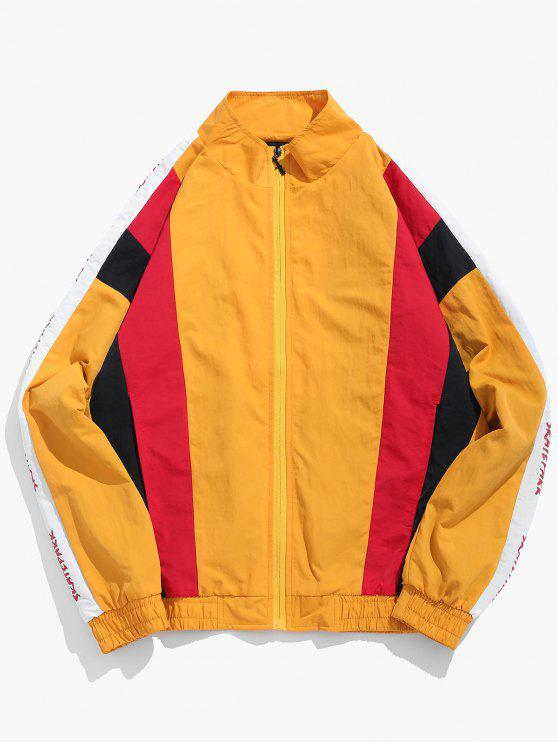 chic Contract Color Graphic Pattern Zip Fly Jacket - BEE YELLOW M