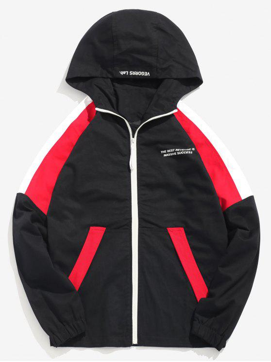 lady Zip Fly Color Spliced Hooded Jacket - RED M