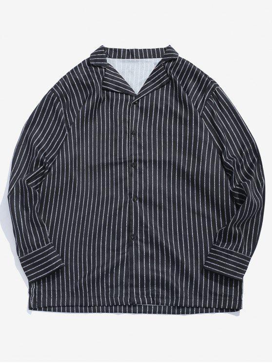 Klassisches gestreiftes Hemd mit Kragen - Schwarz M