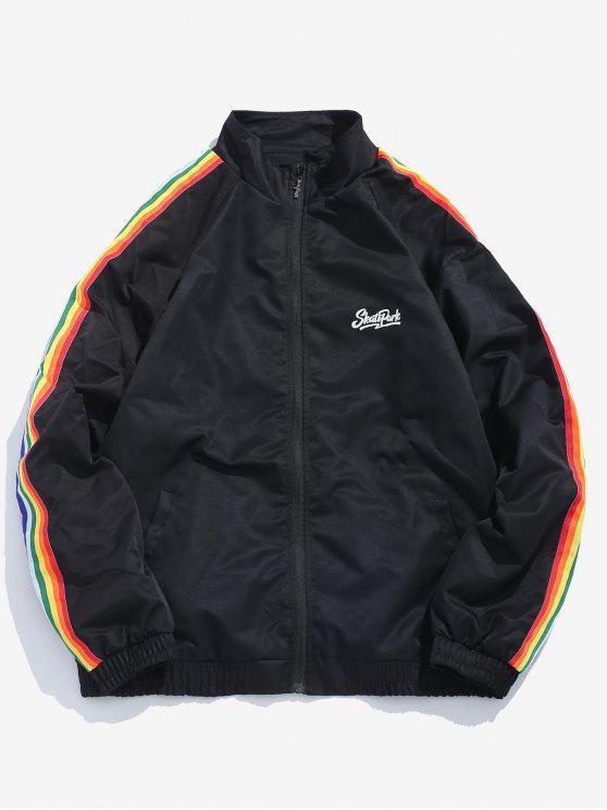 e96a14e16b6 28% OFF  2019 Side Rainbow Stripe Windbreaker Jacket In BLACK L
