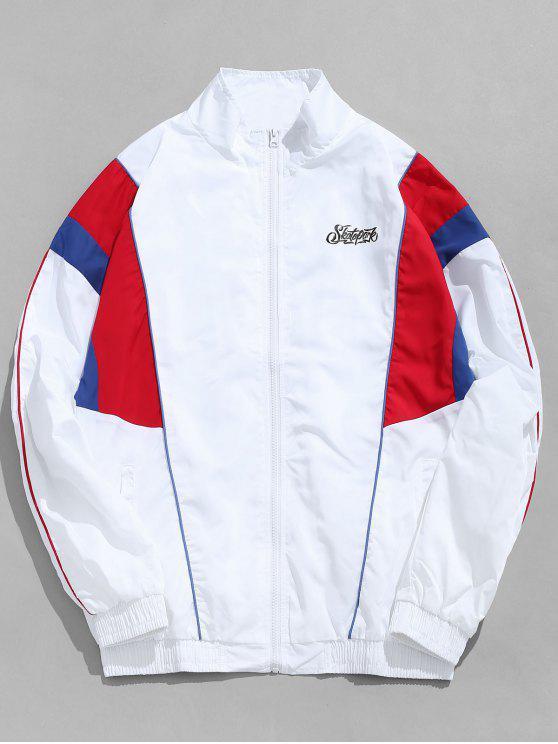 ladies Contrast Stripe Outdoor Windbreaker Jacket - WHITE L