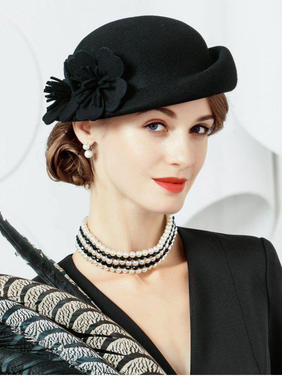 outfit Flourishing Floral Woolen Beret - BLACK