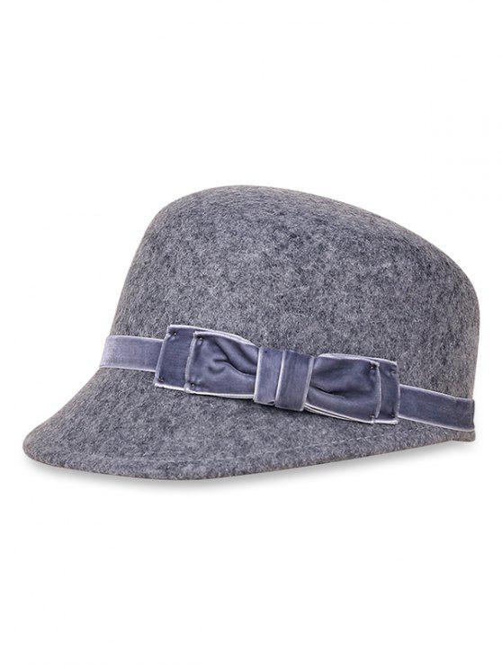 women Bowknot Woolen Bucket Hat - LIGHT SLATE GRAY
