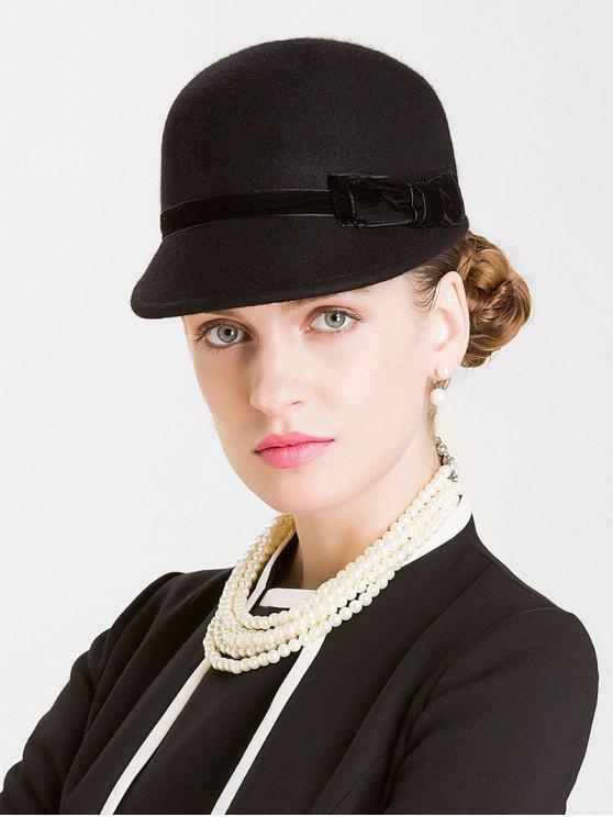 shops Bowknot Woolen Bucket Hat - BLACK