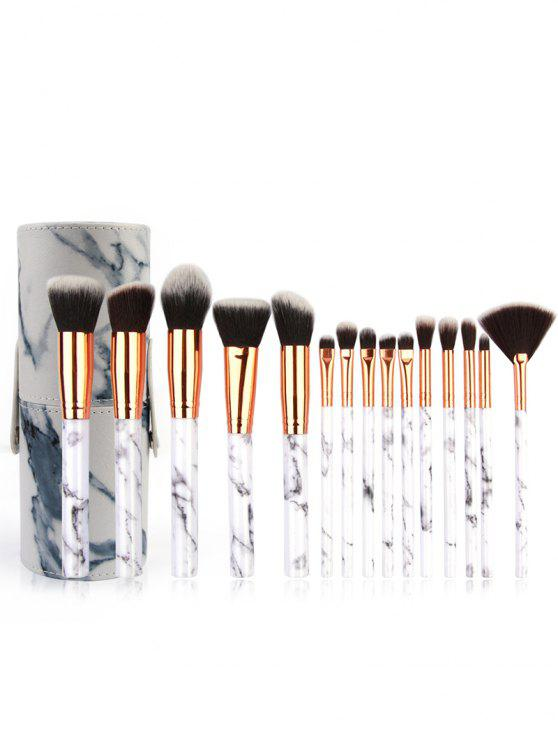 sale Cosmetic 15 Pcs Marble Handle Fiber Hair Makeup Kit with Brush Bucket - PLATINUM