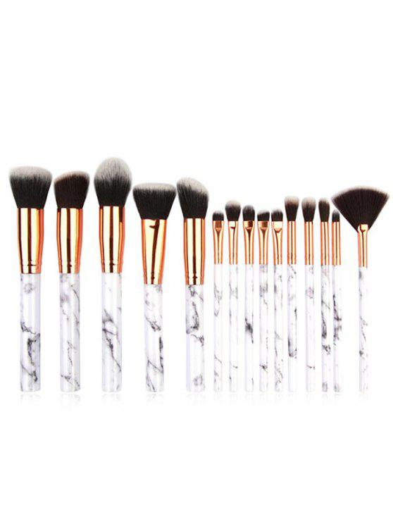 chic Cosmetic 15 Pcs Marble Handles Eyeshadow Blush Powder Fan Brush Set - PLATINUM