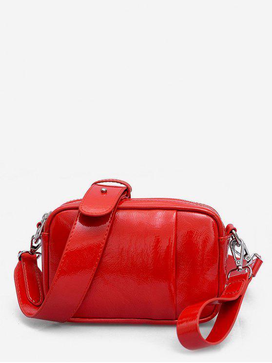 affordable PU Leather Solid Color Design Shoulder Bag - RED