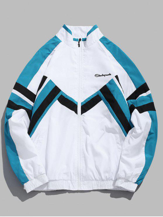 fashion Striped Colorblock Windbreaker Jacket - WHITE L