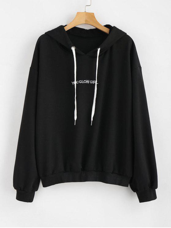 women Letter Embroidered Plus Size Hoodie - BLACK 4X