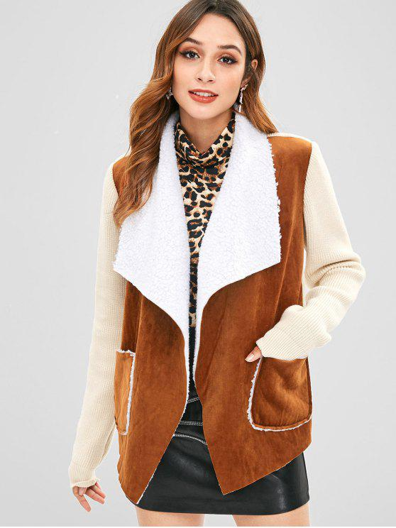 lady Knitted Faux Suede Pocket Jacket - BROWN S