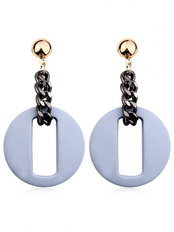 lady Hollow Our Round Shape Dangle Earrings - BLUE GRAY