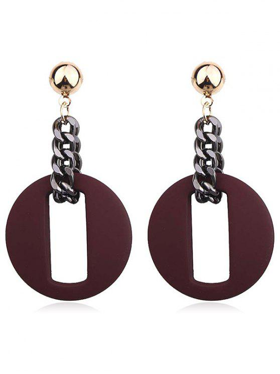 chic Hollow Our Round Shape Dangle Earrings - RED