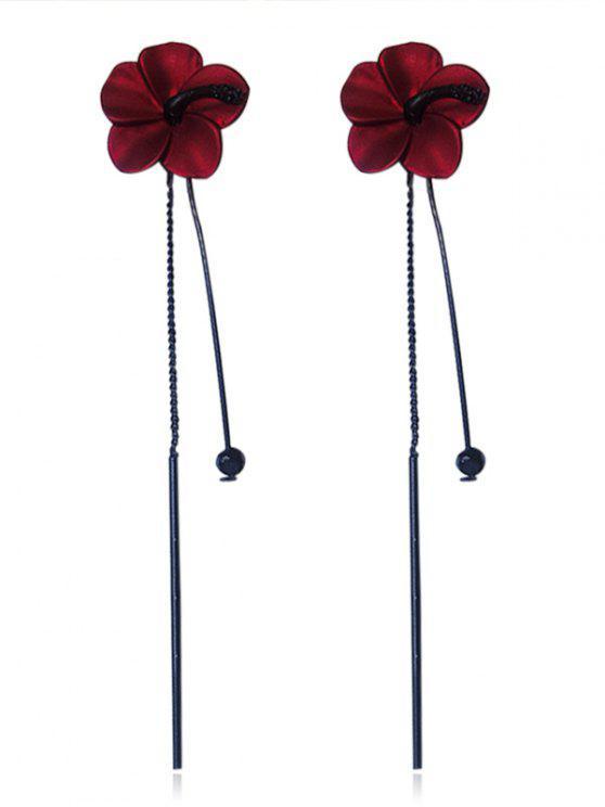 fancy Flower Design Tassel Drop Earrings - RED