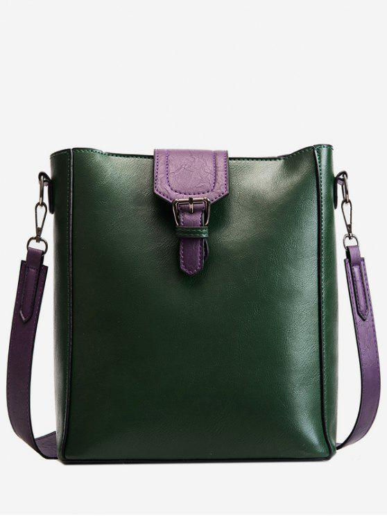 affordable Buckle PU Leather Design Crossbody Bags Set - DEEP GREEN