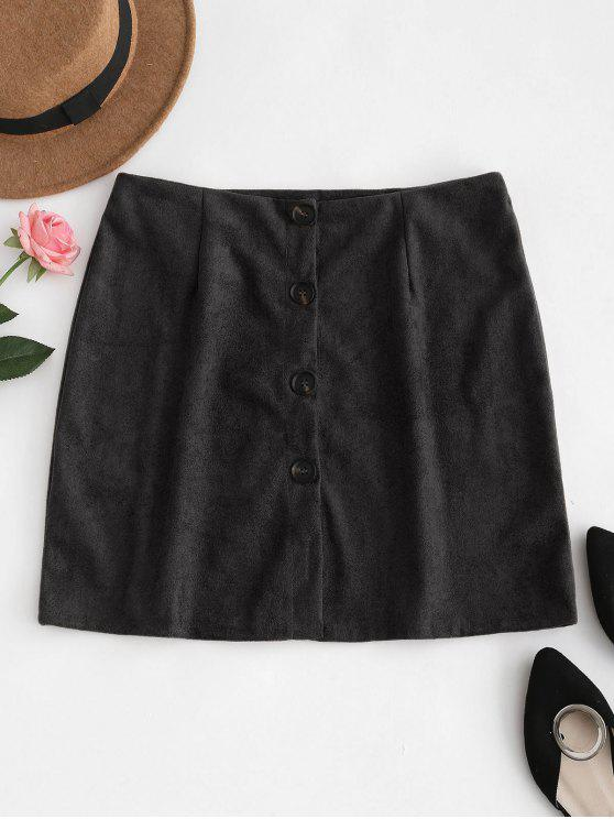 affordable Button Down Suede Skirt - BLACK S