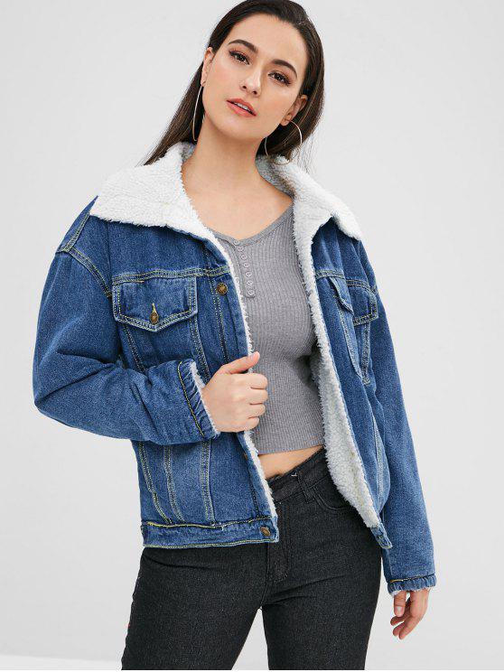 sale Winter Faux Fur Lined Denim Jacket - BLUE L