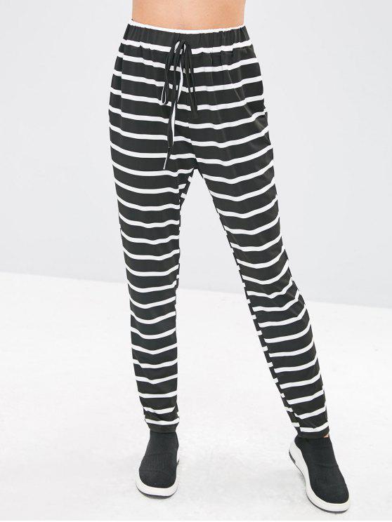 Pantalon Crayon Rayé Taille Elastique - Noir S