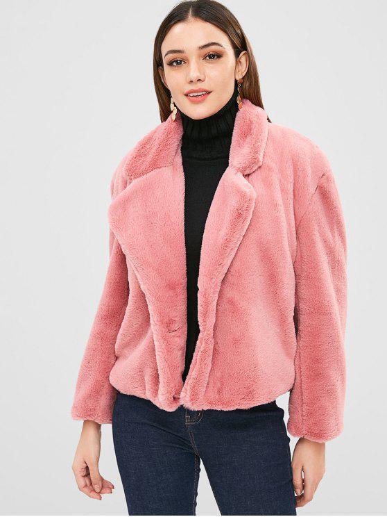 Manteau d'hiver en fausse fourrure - Rose Pastèque M