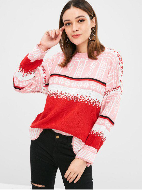 unique Christmas Graphic Crew Neck Sweater - MULTI ONE SIZE