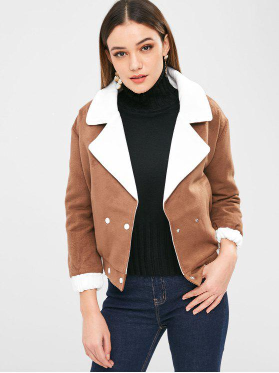 outfits Color Block Double Breasted Jacket - LIGHT BROWN S