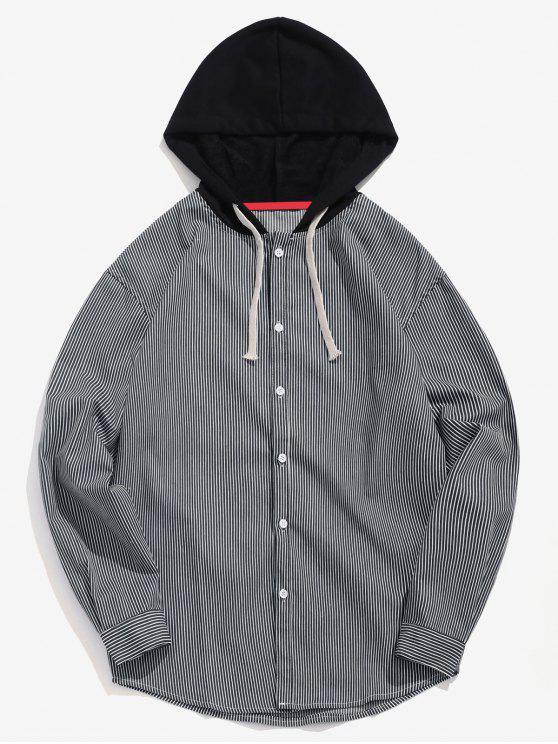 Lässiges gestreiftes Kapuzen-Shirt - Schwarz M