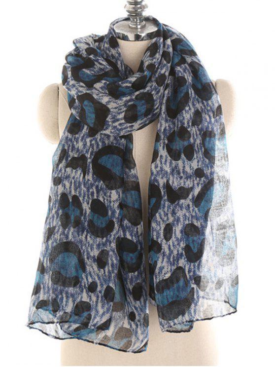 lady Leopard Pattern Voile Long Scarf - OCEAN BLUE