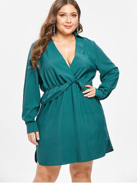 lady ZAFUL Plunge Plus Size Long Sleeve Dress - GREENISH BLUE 4X