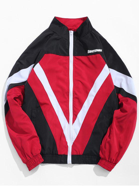 ladies Zip Fly Stand Collar Hip Hop Jacket - RED L
