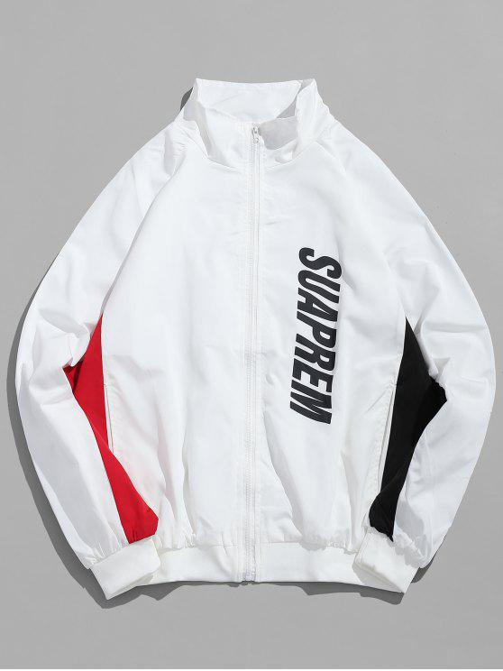 best Zippered Letter Printed Color Block Jacket - WHITE 2XL