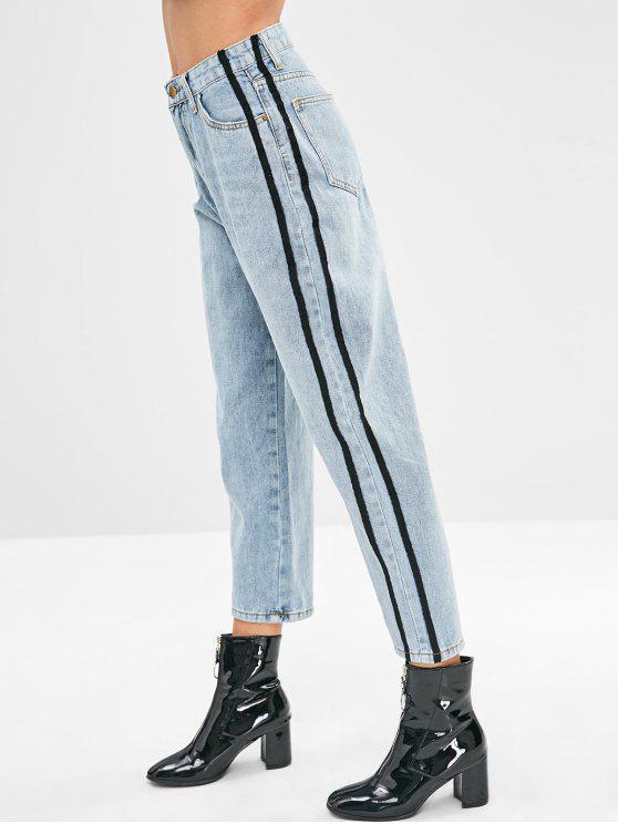 sale Stripe Trim Wide Leg Jeans - DENIM BLUE M