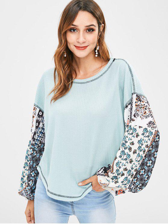 T-Shirt Floreale Con Spalle Oblique - Blu Corallini  S