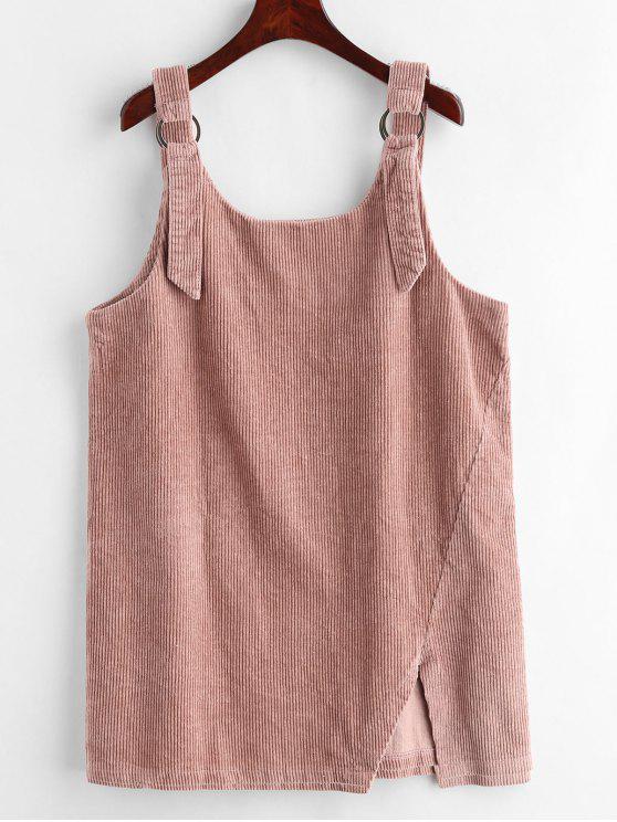 fashion Slit Corduroy Suspender Dress - ORANGE PINK S