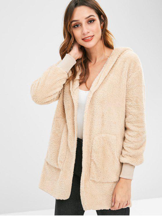 womens Pockets Open Front Hooded Fuzzy Coat - LIGHT KHAKI S