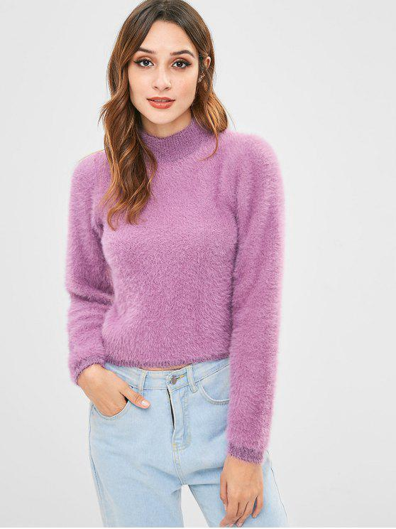 best High Neck Fluffy Sweater - MAUVE ONE SIZE