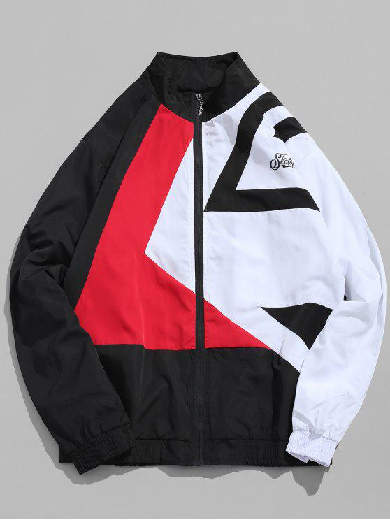 latest Zip Fly Contract Color Hip Hop Jacket - BLACK XL