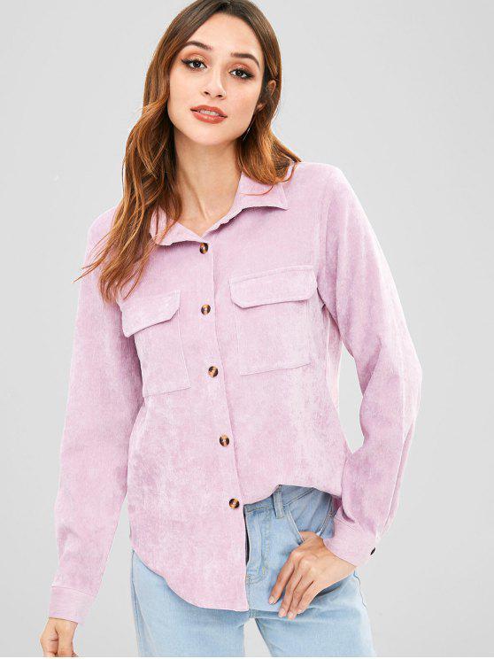 latest ZAFUL Flap Pockets Corduroy Shirt - WISTERIA PURPLE S