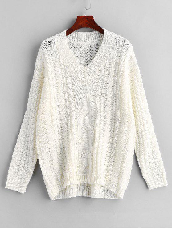 latest ZAFUL V Neck Cable Knit Sweater - WHITE M
