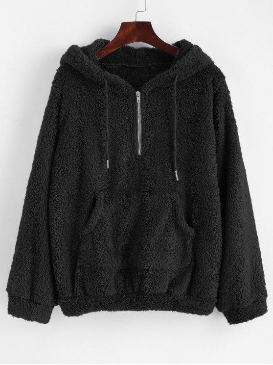 outfit Half Zip Kangaroo Pocket Fluffy Hoodie - BLACK XL