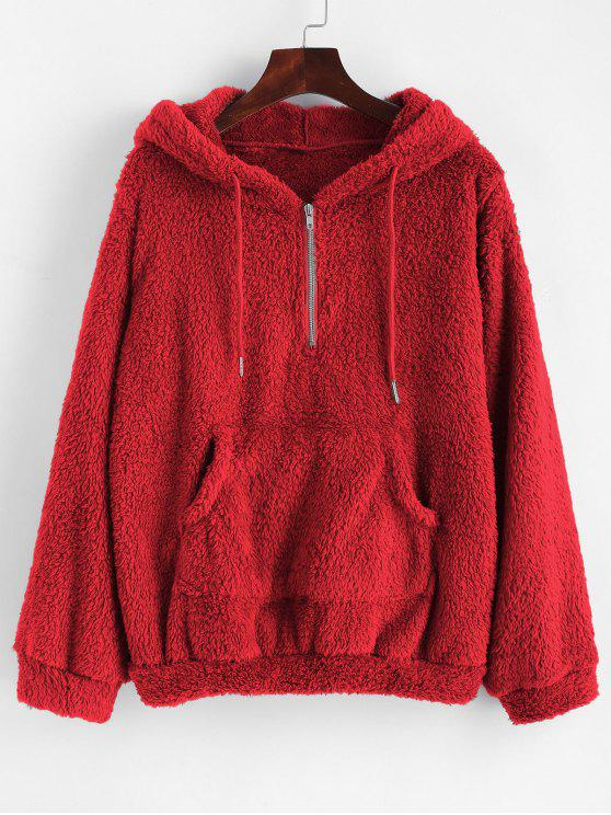 best Half Zip Kangaroo Pocket Fluffy Hoodie - RED S