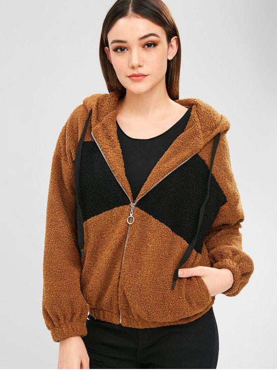 new ZAFUL Two Tone Zip Up Fluffy Teddy Coat - BROWN L